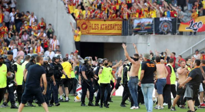 Lens and Lille fans clash